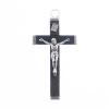 Religious Wood Cross Black/ Nickle 32x56mm with ring Large